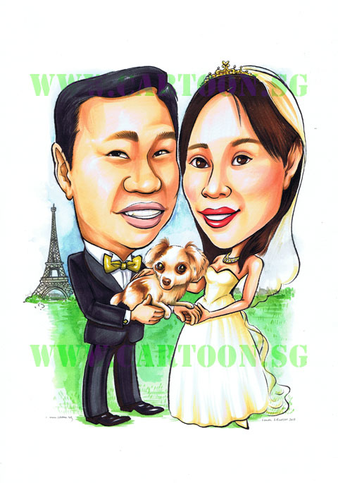 2012-06-26-weddingcouple&dog-Caricature