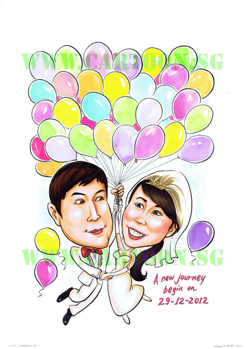 2012-12-17-bridal-balloon-couple-sign-in-board-caricature-singapore-wedding