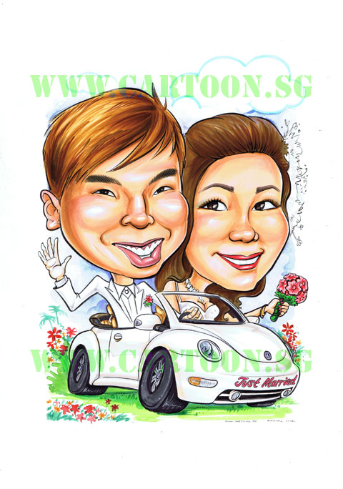 2012-12-17-wedding-couple-in-car-caricature-singapore