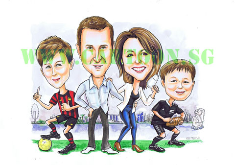 2013-03-08-family-caricature-rugby-football-manchester